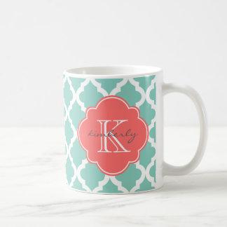 暗いミントおよび珊瑚のモロッコのクローバーのプリント コーヒーマグカップ