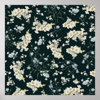 暗いヴィンテージの花の壁紙パターン ポスター