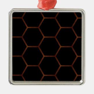 暗い六角形 メタルオーナメント