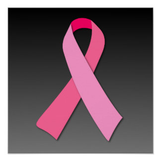 暗い勾配のピンクのリボン ポスター