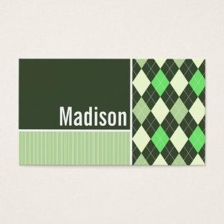 暗い及び薄緑のアーガイル柄のなパターン 名刺