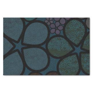 暗い多彩のモダンの織り目加工の円の花模様 薄葉紙