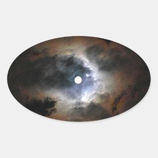 暗い夜の月 楕円形シール