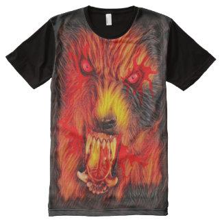 暗い恐怖芸術の中の恐い狼人間 オールオーバープリントT シャツ