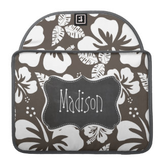 暗い暗灰色の熱帯ハイビスカス; 黒板 MacBook PROスリーブ