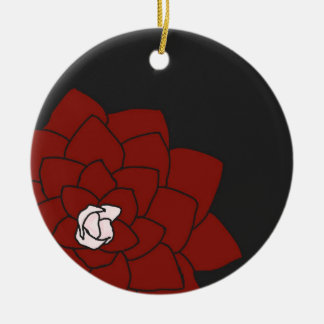 暗い木炭オーナメントの赤い花 セラミックオーナメント