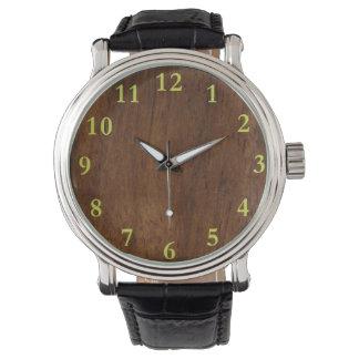 暗い木製のエレガントなシンプル 腕時計