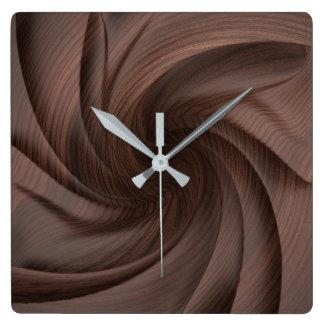 暗い木製のデザインの柱時計 スクエア壁時計