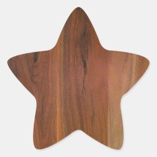 暗い木製の穀物の床 星形シールステッカー