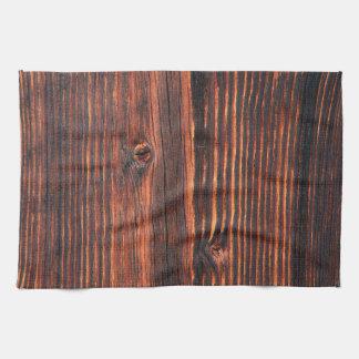 暗い木製板質 キッチンタオル