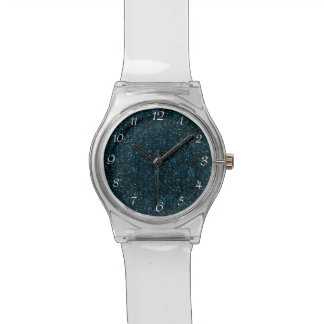 暗い水の青いグリッター 腕時計
