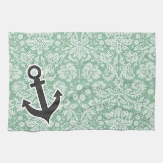 暗い海緑のダマスク織; いかり キッチンタオル