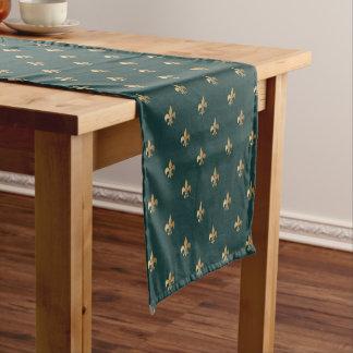 暗い海緑の(紋章の)フラ・ダ・リのように上品な金 ショートテーブルランナー