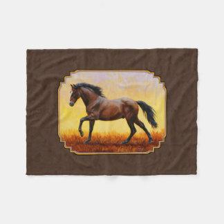 暗い湾の連続した馬ブラウン フリースブランケット