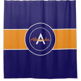 暗い濃紺のオレンジ シャワーカーテン