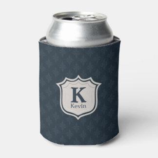 暗い濃紺パターン盾のモノグラム 缶クーラー