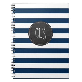暗い真夜中の青い縞; レトロの黒板 ノートブック