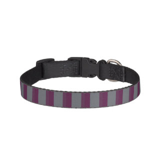 暗い紫色および灰色のストライプのなドッグカラー ペット首輪