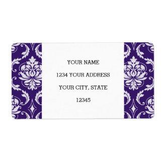 暗い紫色および白いヴィンテージのダマスク織パターン ラベル