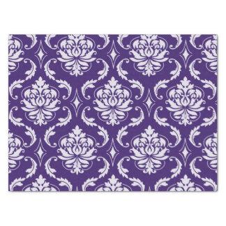 暗い紫色および白いヴィンテージのダマスク織パターン 薄葉紙