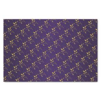 暗い紫色および金花柄 薄葉紙