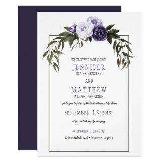 暗い紫色のすみれ色のシャクヤクの水彩画の結婚式 カード