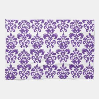 暗い紫色のダマスク織パターン2 キッチンタオル