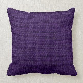 暗い紫色のバーラップの素朴な麻布 クッション