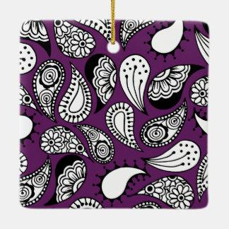 暗い紫色のペイズリー セラミックオーナメント