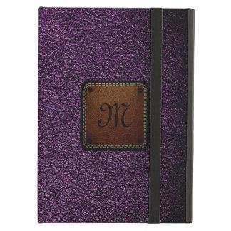 暗い紫色のレザールックの茶色のラベル iPad AIRケース