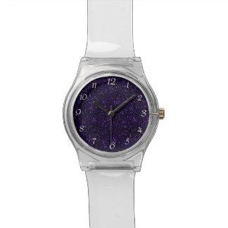 暗い紫色の紫色のグリッター 腕時計