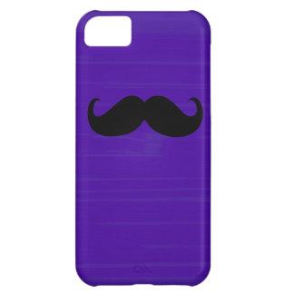 暗い紫色の背景のおもしろいで黒い髭 iPhone5Cケース