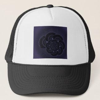 暗い紫色の花のグラフィック。 螺線形 キャップ