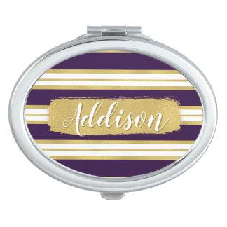 暗い紫色の金ゴールドのストライプパターン名前をカスタムする