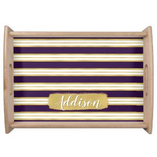 暗い紫色の金ゴールドのストライプパターン名前をカスタムする トレー