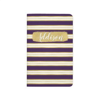 暗い紫色の金ゴールドのストライプパターン名前をカスタムする ポケットジャーナル