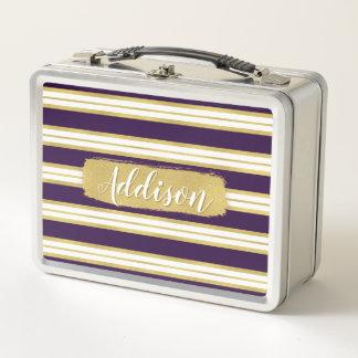 暗い紫色の金ゴールドのストライプパターン名前をカスタムする メタルランチボックス