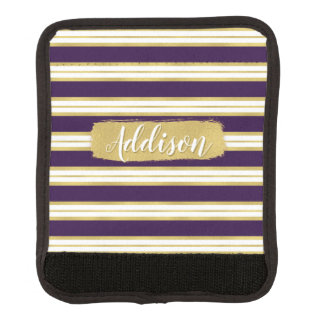 暗い紫色の金ゴールドのストライプパターン名前をカスタムする ラゲッジ ハンドルラップ