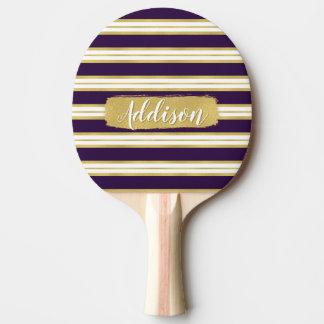 暗い紫色の金ゴールドのストライプパターン名前をカスタムする 卓球ラケット