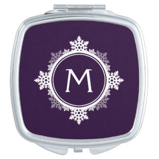 暗い紫色の雪片のリースのモノグラム及び白い