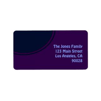 暗い紫色の青くモダンな円 宛名ラベル
