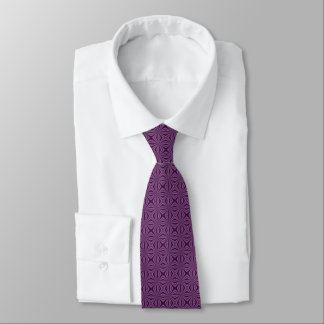 暗い紫色のSquiggly正方形 ネクタイ