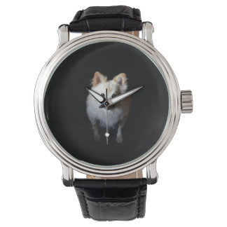 暗い腕時計のポメラニア犬犬 腕時計