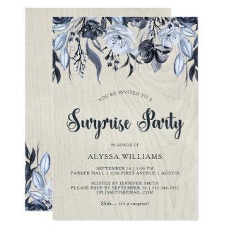 暗い花柄および白い木|びっくりパーティ カード