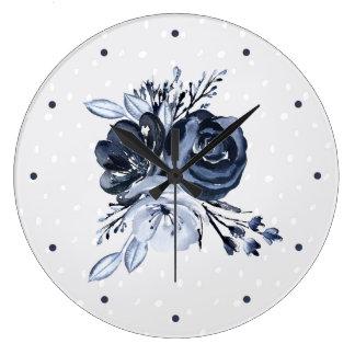 暗い花柄|のモダンな水彩画 ラージ壁時計