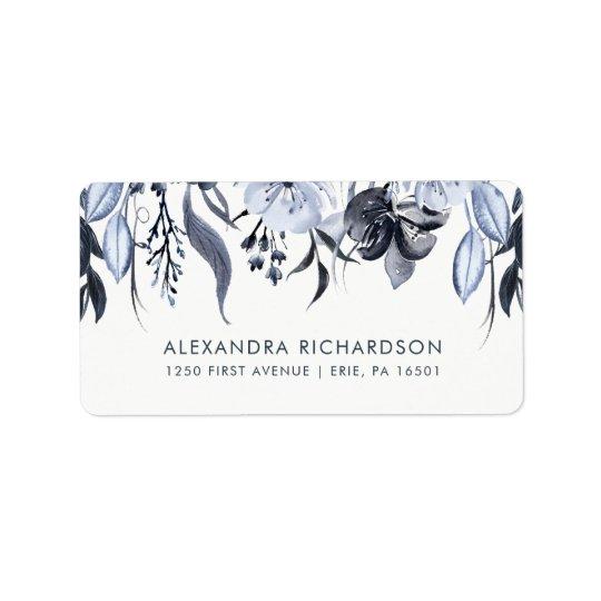 暗い花柄|の水彩画の結婚式 宛名ラベル
