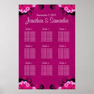 暗い赤紫の花の結婚式9のテーブルの座席の図表 ポスター