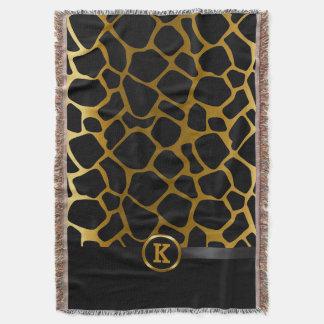 暗い金ゴールドおよび黒いキリン動物パターン スローブランケット