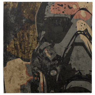暗い金属板の防護マスクを持つ人 ナプキンクロス
