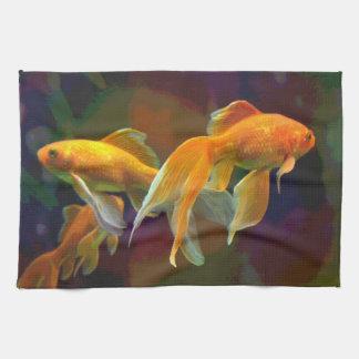 暗い金魚タオル キッチンタオル